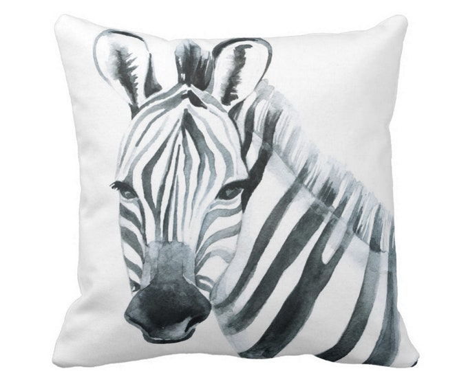 "Zebra Throw Pillow or Cover, Modern Nursery Black/White 14, 16, 18, 20"" Sq Pillows/Covers Watercolor Gender Neutral/Animal/Jungle Print"