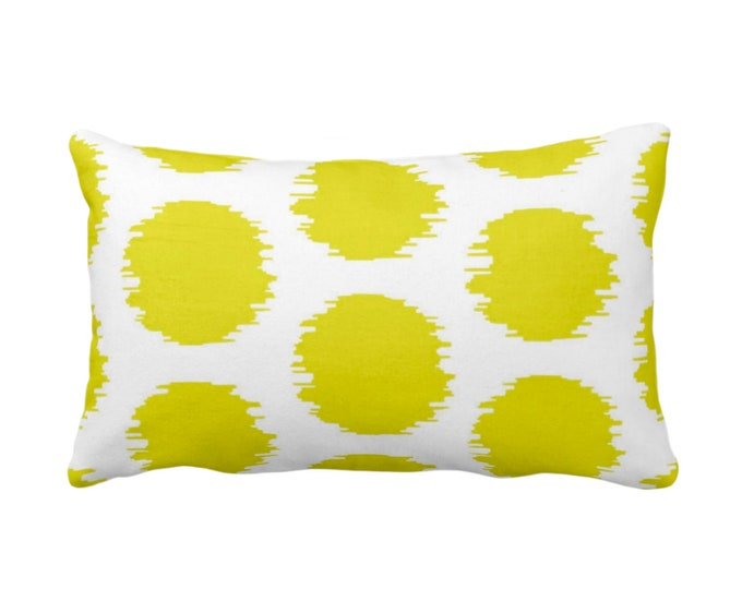 "OUTDOOR Ikat Dot Throw Pillow or Cover, Yellow/White 14 x 20"" Lumbar Pillows or Covers, Dots/Spots/Spot/Circles/Polka/Dotted Print/Pattern"