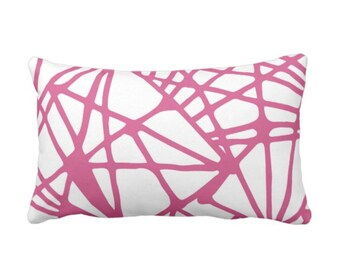 """Webbed Lines Throw Pillow or Cover, Pink Yarrow/White 14 x 20"""" Lumbar Pillows or Covers Bright Modern Abstract Geometric Print"""