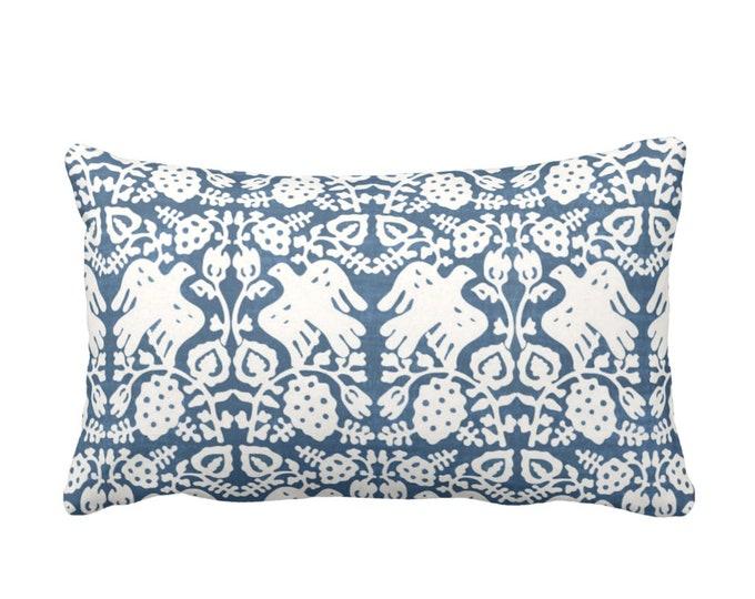 "OUTDOOR Block Print Bird Floral Throw Pillow or Cover, Indigo 14 x 20"" Lumbar Pillows/Covers Blue/White Blockprint/Tribal/Boho Print"