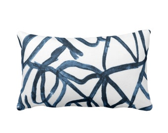 "Abstract Print Throw Pillow or Cover, White/Slate Blue 14 x 20"" Lumbar Pillows/Covers Painted Navy/Indigo Abstract/Geometric/Modern/Lines"