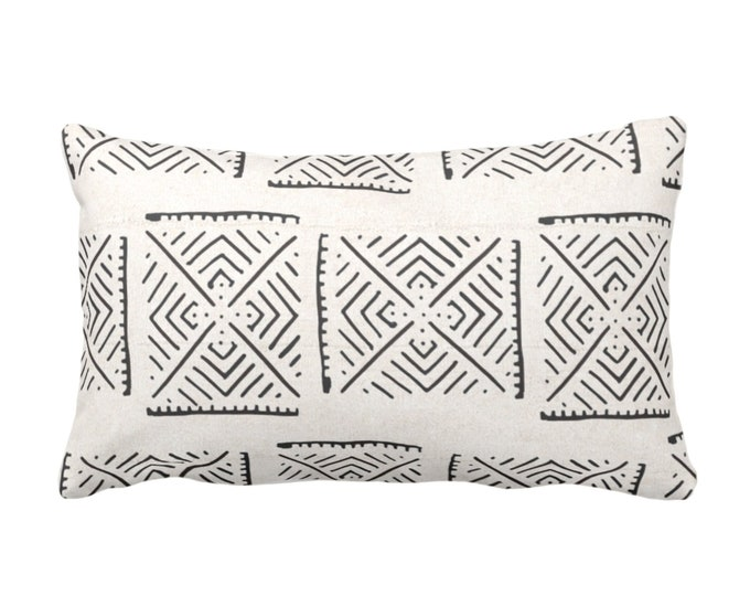 "OUTDOOR Mud Cloth Throw Pillow or Cover, Diamond Geo Off-White/Black Print 14 x 20"" Lumbar Pillows/Covers, Mudcloth/Tribal/Geometric/X"