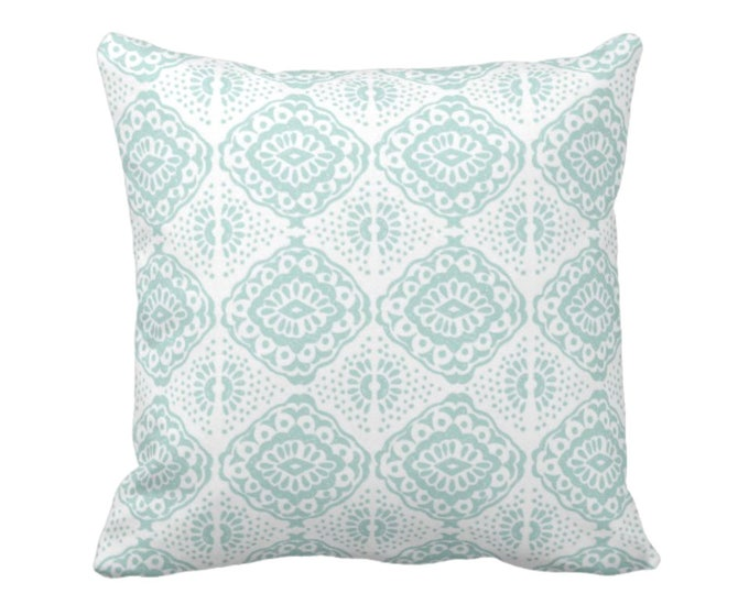 """OUTDOOR Block Print Medallion Throw Pillow or Cover, Turquoise/White 16, 18 or 20"""" Sq Pillows or Covers, Blue/Green Tribal/Batik/Geo/Boho"""
