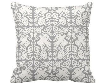 "OUTDOOR Block Print Bird Floral Throw Pillow or Cover, Gray 16, 18 or 20"" Sq Pillows or Covers, Blockprint/Boho/Floral/Animal/Print"