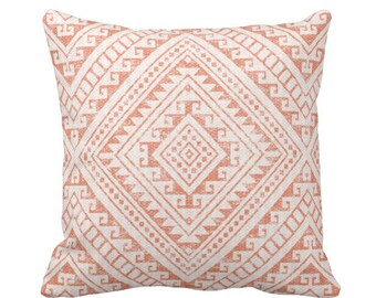 "OUTDOOR Diamond Geo Throw Pillow or Cover, Coral 14, 16, 18, 20, 26"" Sq Pillows/Covers, Melon Geometric/Tribal/Batik/Boho/Southwest Print"