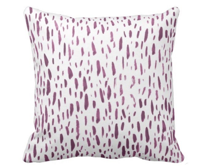 "OUTDOOR Hand-Painted Dashes Throw Pillow or Cover, Plum/White 16, 18 or 20"" Sq Pillows or Covers, Purple Dot/Dots/Splatter Print"