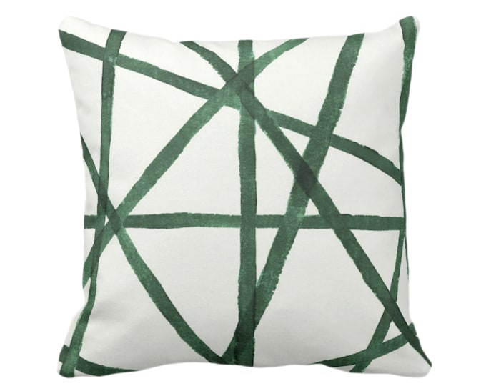 "READY 2 SHIP Hand Painted Lines Throw Pillow Cover, Kale & White 18"" Sq Pillow Covers, Channels/Stripes Abstract Art Print, Green"