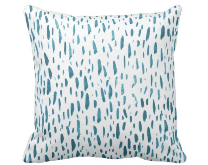 "OUTDOOR Hand-Painted Dashes Throw Pillow or Cover, Teal/White 16, 18 or 20"" Sq Pillows or Covers, Dot/Dots/Speckled/Splatter Print"