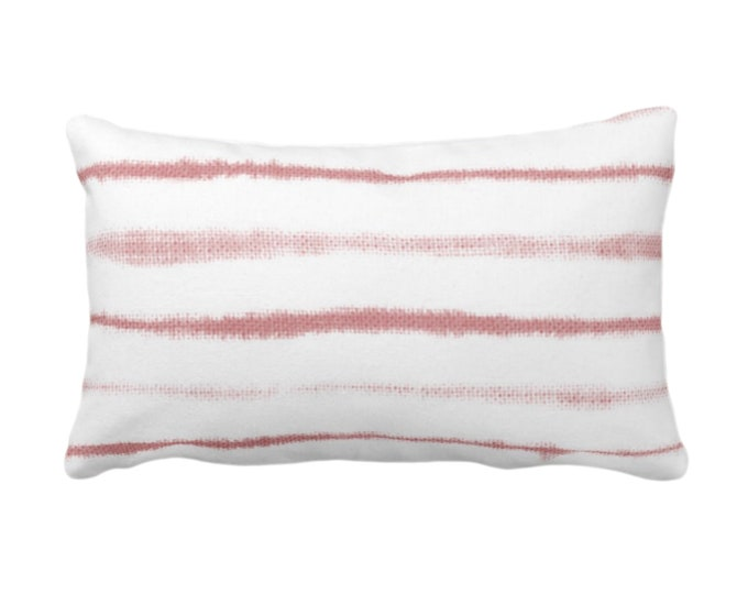 """OUTDOOR Uneven Lines Throw Pillow or Cover, Pink Clay/White 14 x 21"""" Lumbar Pillows/Covers, Dusty Stripe/Stripes/Lines/Hand-Painted Print"""