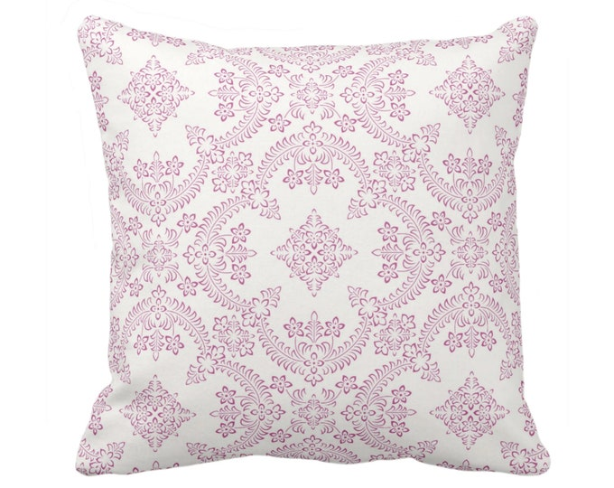 "Priano Tile Print Throw Pillow or Cover, Purple/White 16, 18, 20 or 26"" Sq Pillows or Covers, Bright Pink Floral/Geometric/Trellis Pattern"