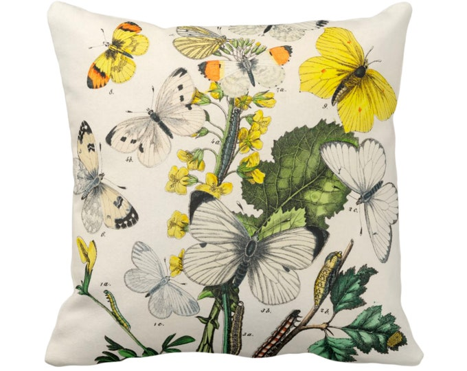 "Vintage Butterflies Throw Pillow or Cover, 14, 16, 18, 20, 26"" Sq Pillows/Covers, Colorful Floral Yellow/White/Green Butterfly Print/Pattern"