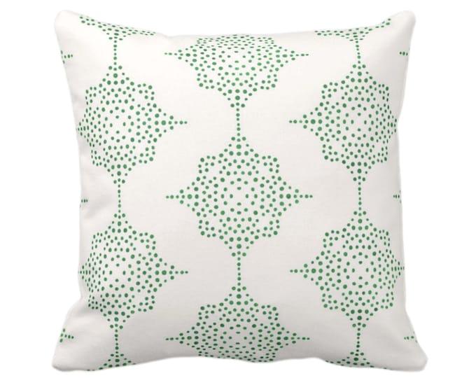 "OUTDOOR Block Print Stars Throw Pillow Cover, Emerald/Ivory 14, 16, 18, 20, 26"" Sq Covers, Green Geometric/Geo/Blockprint/Medallion Pattern"