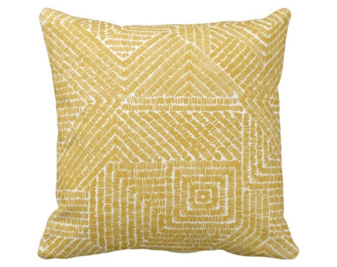 "Tribal Geo Throw Pillow or Cover, Citron 16, 18, 20 or 26"" Sq Pillows or Covers, Dark Yellow/Mustard Geometric/Tribal/Batik/Geo/Boho/Diamond"