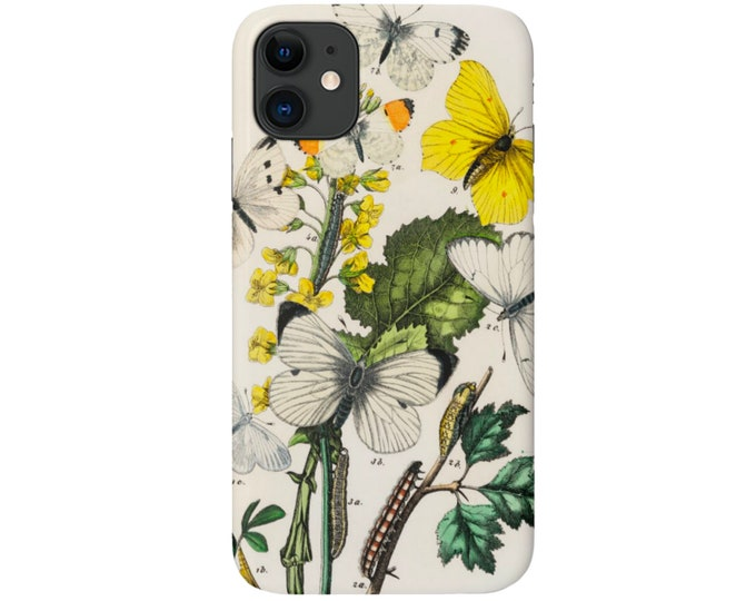 Vintage Butterflies iPhone 11, XS, XR, X, 7/8, 6/6S P/Pro/Plus/Max, Snap Case or Tough Protective Cover, Floral/Flower/Flowers Print Galaxy