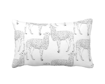 "Llama Print Throw Pillow or Cover, Black/White 14 x 20"" Lumbar Pillows/Covers, Modern Gender Neutral Nursery Animals/Llamas/Sketch/Art Print"