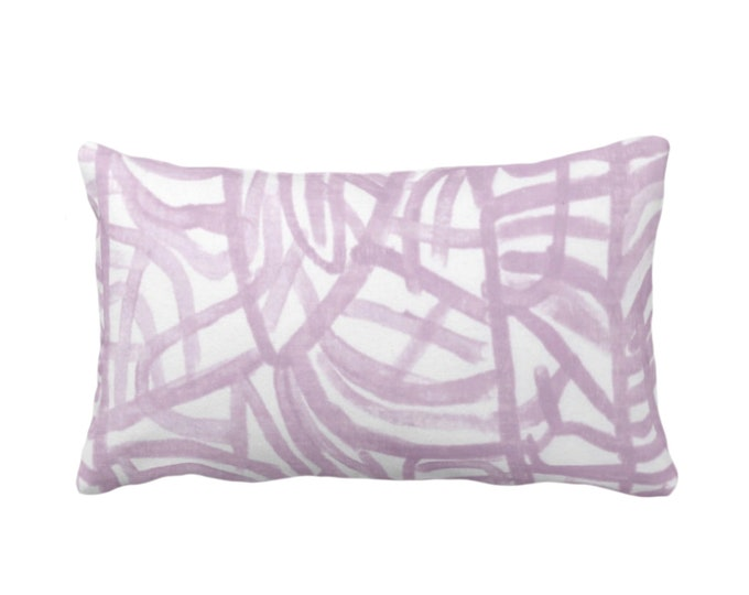 "Avant Print Throw Pillow or Cover, White/Aster 14 x 20"" Lumbar Pillows/Covers Painted Light Purple Abstract/Geometric/Modern/Lines/Geo Paint"