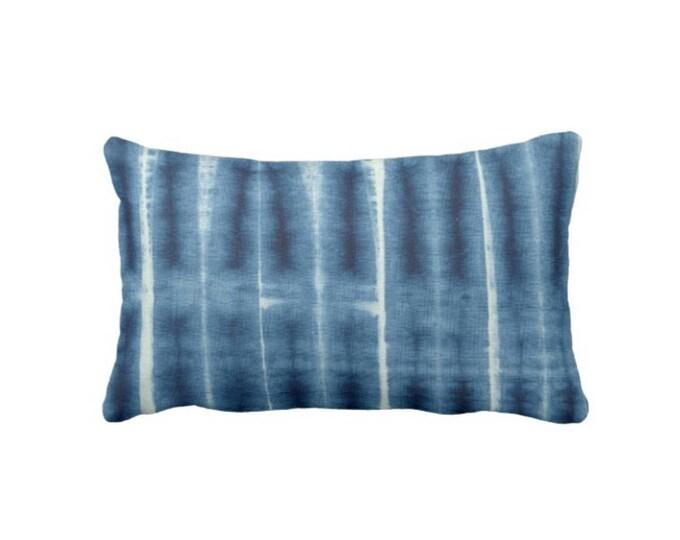 "Indigo Mud Cloth Print Throw Pillow or Cover, 14 x 20"" Lumbar Pillows or Covers, Blue Mudcloth/Tribal/Boho/African/Geo/Lines"