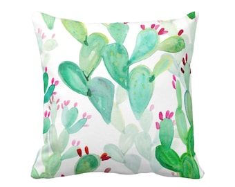 "Watercolor Cactus Print Throw Pillow or Cover, Colorful Green/Pink 16, 18, 20 or 26"" Sq Pillows or Covers, Emerald Cacti/Pattern"