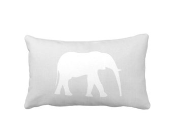 "Elephant Silhouette Throw Pillow or Cover, Gray/White 14 x 20"" Lumbar Pillows/Covers, Gender Neutral Safari/Jungle/Elephants/Modern Animals"
