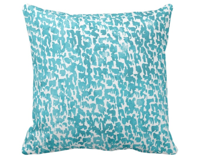 """OUTDOOR Teal Speckled Throw Pillow or Cover 16, 18, 20 or 26"""" Sq Pillows/Covers Bright Aqua/Blue/Green Geometric/Abstract/Marbled/Spots/Dots"""