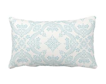 "OUTDOOR Priano Tile Print Throw Pillow, Seaglass/White 14 x 20"" Lumbar Pillows, Aqua Blue/Green Floral/Trellis/Geometric/Geo Pattern"