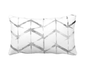 "OUTDOOR Shadow Chevron Throw Pillow or Cover, Gray/White 14 x 20"" Lumbar Pillows/Covers, Geometric/Modern/Geo/Lines/Zig-Zag Print"
