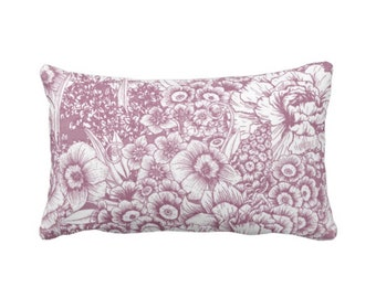 """Retro Floral Throw Pillow or Cover, Plum/White 14 x 20"""" Lumbar Pillows or Covers, Dusty Purple/Violet, Flowers/Botanical/Print"""