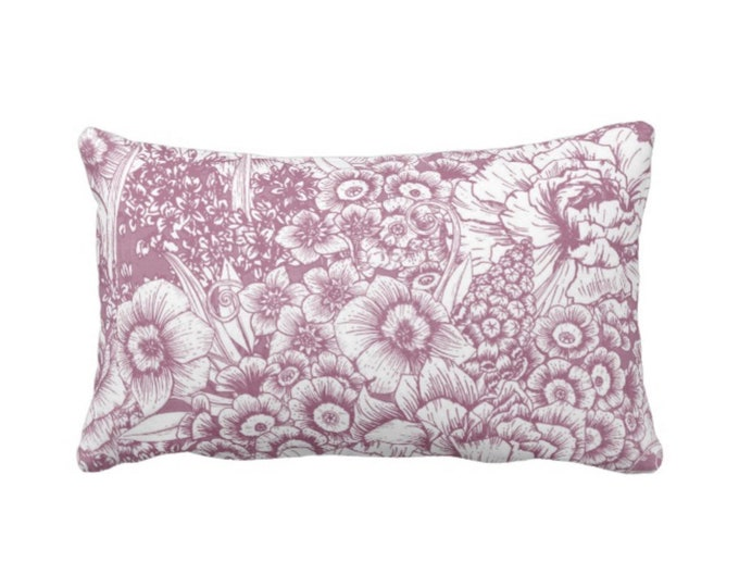 "OUTDOOR Retro Floral Throw Pillow or Cover, Plum/White 14 x 20"" Lumbar Pillows/Covers, Dusty Purple/Violet, Flowers/Botanical/Print"