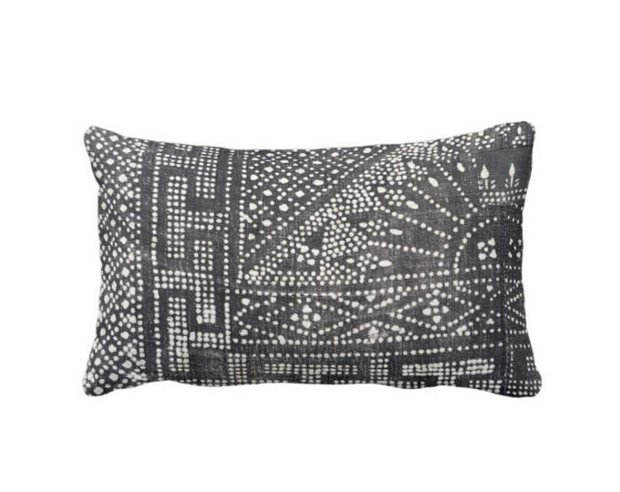 """OUTDOOR Gray Batik Printed Throw Pillow or Cover, Indigo 14 x 20"""" Lumbar Pillows or Covers, Vintage Chinese Miao Hill Tribe Textile Print"""