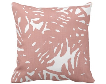 "Palm Silhouette Throw Pillow or Cover Adobe Pink/White 16, 18, 20 or 26"" Sq Pillows or Covers Dusty Tropical/Leaf/Leaves/Palms Print/Pattern"