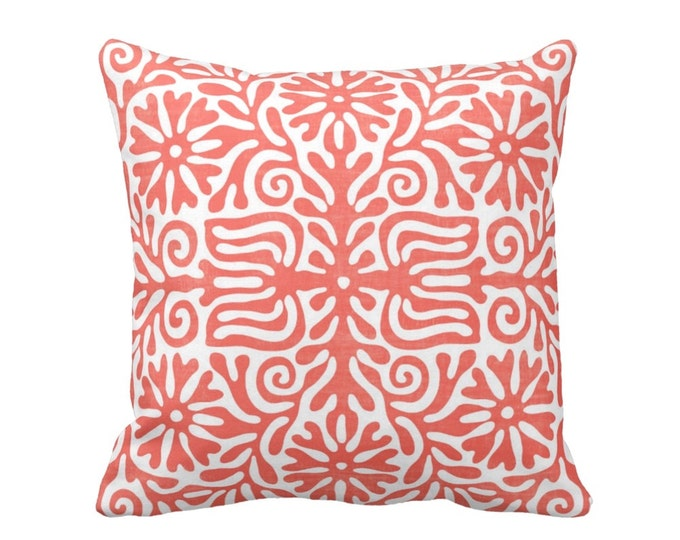 "Folk Floral Throw Pillow or Cover, Coral/White 16, 18, 20 or 26"" Sq Pillows or Covers, Pink/Orange Mexican/Boho/Bohemian/Tribal"