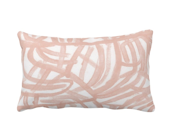 "Avant Print Throw Pillow or Cover, White/Salmon 14 x 20"" Lumbar Pillows/Covers Painted Light Coral Abstract/Geometric/Modern/Lines/Geo Paint"