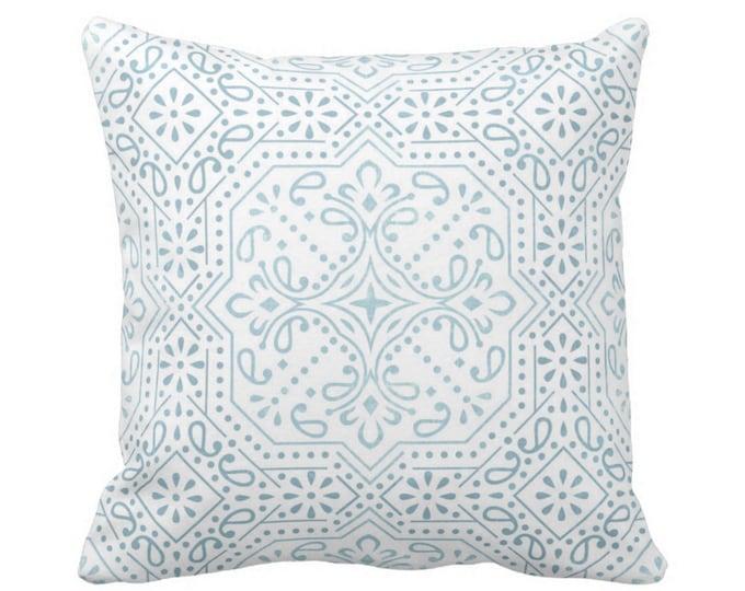 "OUTDOOR Tile Print Throw Pillow or Cover, Sky Blue 16, 18 or 20"" Sq Pillows or Covers, Aqua/White Trellis/Geometric/Geo/Batik"