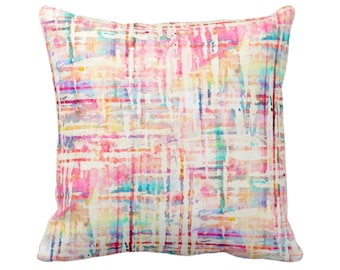 "OUTDOOR Watercolor Tweed Throw Pillow/Cover, Multi-Colored Geometric Print 14, 16, 18, 20, 26"" Sq Pillows/Covers, Abstract/Lines/Stripes"