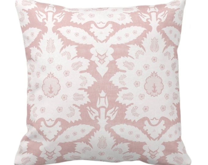 """OUTDOOR Sofia Damask Print Throw Pillow/Cover, Soft Pink 14, 16, 18, 20, 26"""" Sq Pillows/Covers, Rose Floral/Boho/Tribal/Farmhouse Pattern"""