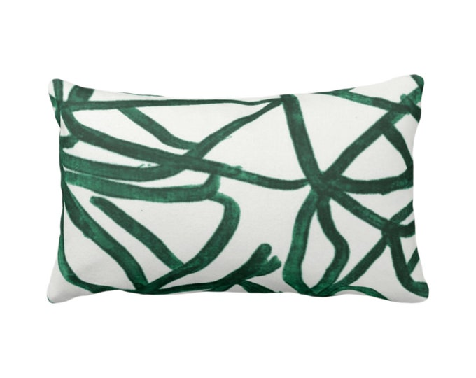 "OUTDOOR - READY 2 SHIP Abstract Throw Pillow Cover White/Balsam 14 x 20"" Lumbar Covers Print Painted Dark Green Abstract Geometric/Geo/Lines"