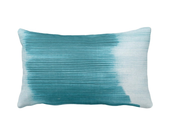 """Teal Ombre Stripe Throw Pillow/Cover 14 x 20"""" Lumbar/Oblong Pillows/Covers, Blue/Green Geometric/Art/Print/Design/Striped/Stripes/Geo/Lines"""