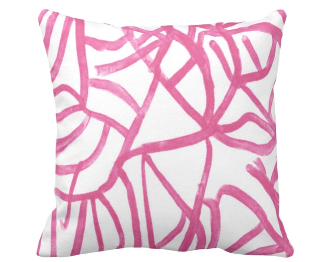 "Abstract Throw Pillow or Cover, White/Magenta 16, 18, 20, 26"" Sq Pillows Covers Bright Pink Painted Modern/Geometric/Lines Painting Print"
