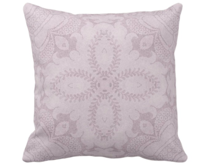 "Nouveau Damask Throw Pillow or Cover, Lavender 14, 16, 18, 20 or 26"" Sq Pillows or Covers Dusty Purple, Floral/Batik/Geo/Boho/Tribal Pattern"