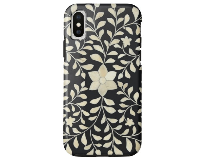 READY 2 SHIP Faux Bone Inlay Design iPhone XS Tough Protective Cover, Black/White/Ivory Batik/Boho, Indian/India/Tribal/Floral Print/Pattern