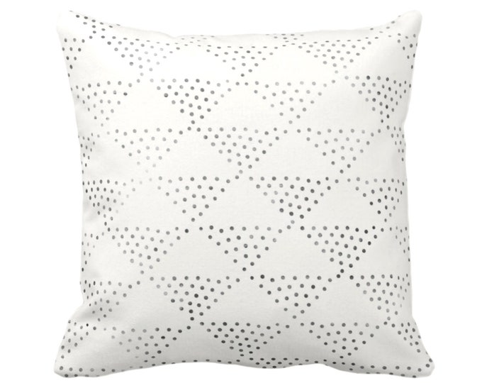 "OUTDOOR Batik Triangles Print Throw Pillow or Cover, Off-White/Gray/Black 16, 18, 20, 26"" Sq Pillows/Covers, Geometric/Geo/Boho/Tribal/Hmong"