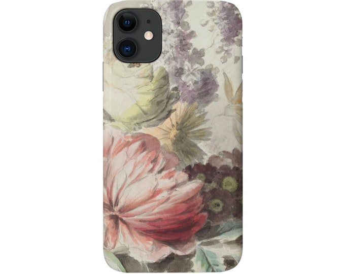 Vintage Floral iPhone 11, XS, XR, X, 7/8, 6/6S P/Pro/Plus/Max, Snap Case or Tough Protective Cover, Watercolor Flower/Flowers Print Galaxy