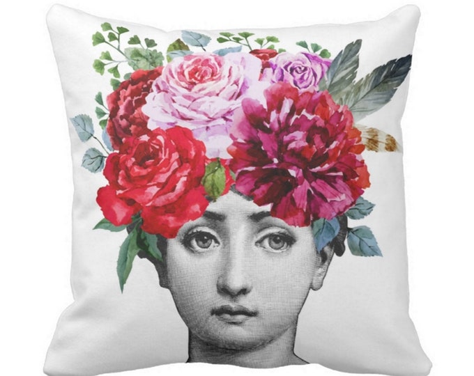 "Fornasetti Face & Flowers Throw Pillow or Cover, 16, 18, 20 or 26"" Sq Pillows or Covers, Colorful/Floral/Watercolor/Art/Modern"