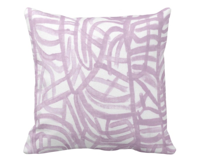 "READY 2 SHIP Avant Throw Pillow Cover, White/Aster 18"" Sq Pillow Covers Light Purple Painted Abstract Modern/Geometric/Geo/Lines Print"