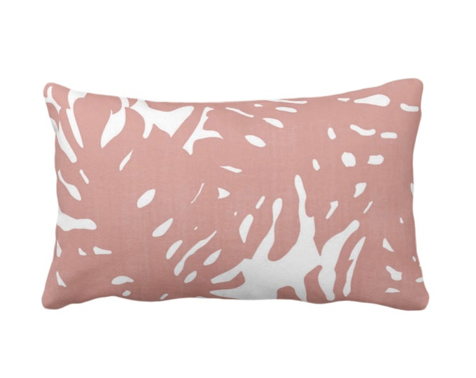 "OUTDOOR Palm Silhouette Throw Pillow or Cover Adobe Pink/White Print 14 x 20"" Lumbar Pillows/Covers, Dusty Tropical/Modern/Leaves Pattern"