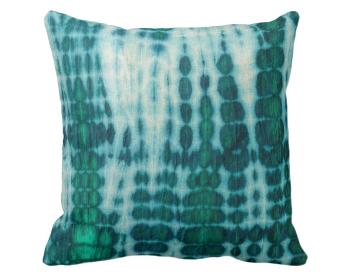 """SALE Acid Teal & Emerald Throw Pillow Covers, 17"""" Square Pillows/Cover, Hand-Dyed Effect, Shibori/Mud Cloth, African/Tribal/Boho/Jungalo"""