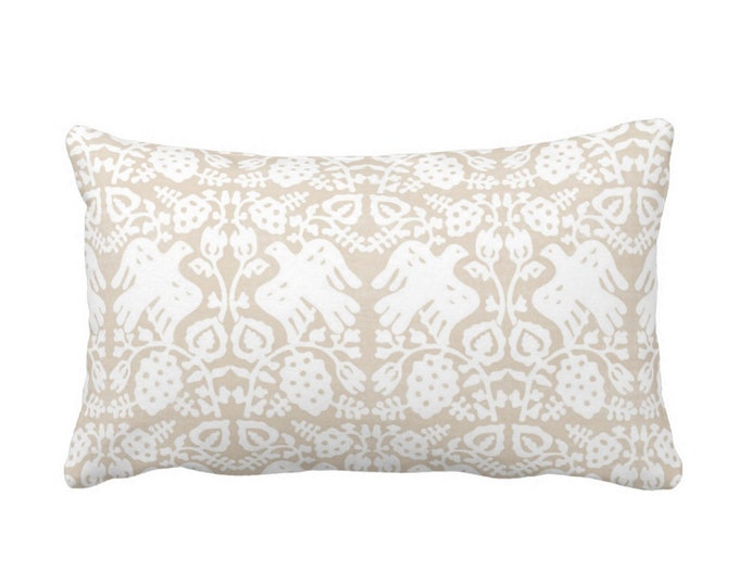 "Block Print Bird Floral Throw Pillow or Cover, Sand 14 x 20"" Lumbar Pillows or Covers, Beige/White Blockprint/Animals/Boho/Tribal Print"