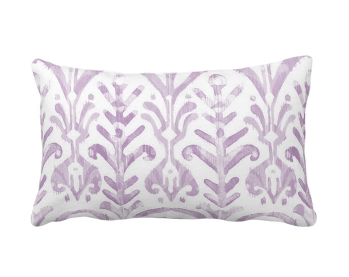 """OUTDOOR Watercolor Print Throw Pillow or Cover, Lavender/White 14 x 20"""" Lumbar Pillows or Covers, Light Purple, Ikat/Boho Hand Painted Print"""