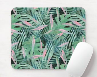 Jade Palms Mouse Pad, Dusty Green & Pink Tropical Mousepad, Botanical Jungalo Boho Print/Pattern, Watercolor Hand Painted Art