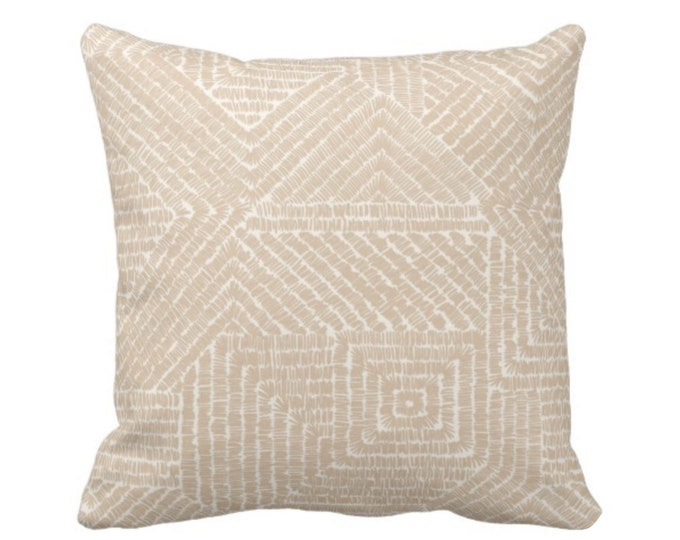 "Tribal Geo Throw Pillow or Cover, Sand 16, 18, 20 or 26"" Sq Pillows or Covers, Light Beige/Flax Scratch Geometric/Tribal/Batik/Geo/Boho"